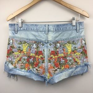 FREE PEOPLE Elsa High Waisted Embroidered Cutoffs